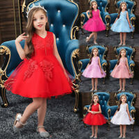 Kids Girls Princess Bridesmaid Pageant Gown Birthday Party Wedding Floral Dress