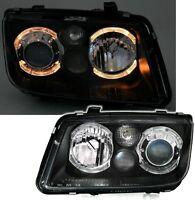 BLACK PROJECTOR ANGEL EYE HEADLIGHTS HEADLAMPS FOR VW BORA 10/1998-7/2005