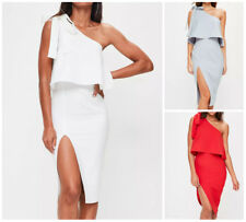 MISSGUIDED crepe one shoulder bow sleeve midi dress (M27/12)