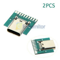 2PC 24Pin USB 3.1 Type C Female Plug Socket Connector Adapter SMT Type PCB Board