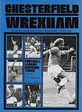 Football Programme>CHESTERFIELD v WREXHAM Sept 1976