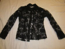 Preowned Women's Size Small Black Lace JILL MCGOWAN Blouse
