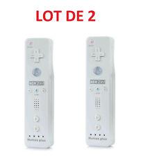 2 X Télécommande Wiimote plus (Motion plus inclus) pour  Wii et Wii U - Blanc