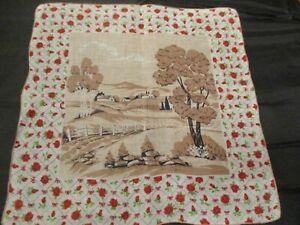 Vintage Cutter Linen farm scene on red roses border hanky handkerchief hand roll