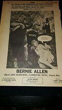 Bernie Allen Comedian Rare 1969 Puerto Rico Performance Promo Poster Ad Framed!