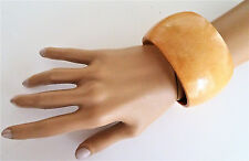 Gorgeous 4 cms Wide and Chunky Light Brown Wooden Bangle Bracelet