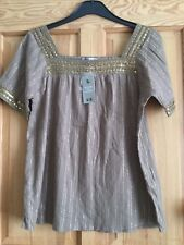 BNWT Tu Ladies Brown & Gold Striped Sequin Tunic Top Sz 10