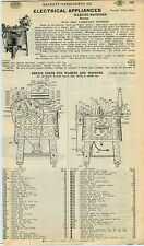 1940 ADVERT Horton Clothes Washer Washing Machine Wood Wooden Parts Repair List