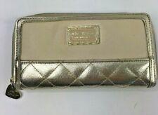 Betsey Johnson Wallet Gold Quilted Cream Zip Around New York Clutch Purse