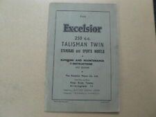 EXCELSIOR 250 CC TALISMAN TWIN STANDARD AND SPORTS MODELS 1957 MAINTANCE RUNNING