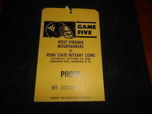 1988 Photographer Pass West Virgina vs Penn State College Football Game