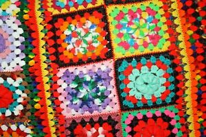 Colorful Crochet Afghan Throw Granny Square Grandmother 80x50 Couch fringe
