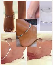 Anklets 925 Silver Plated Turquoise Gold Women's Fashion Jewelry Set of 5 Unique