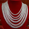 4,6,9mm 18-26 inch Mens Curb Chain Necklace Stainless Steel Sliver Charm Jewelry