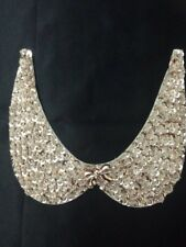 Gold Sparkly Sequined beaded neckline for Wedding Sewing Applique (Design No5 )
