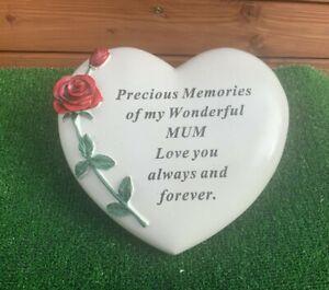 Large Beautiful Heart Embossed With Rose ' MUM ' Memorial Ornament