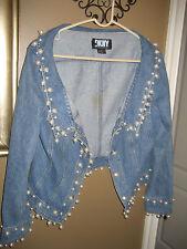 VINTAGE DKNY pearl encrusted blue denim jacket size 12