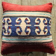 (40*40cm, 16inch) Boho style vintage kilim cushion cover slitweave indigo blue