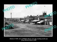 OLD POSTCARD SIZE PHOTO OF BATHURST NSW VIEW OF WILLIAM STREET & STORES c1890