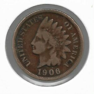 Rare Very Old Antique 1906 US Indian Head Penny Collectible Cent Collection Coin