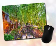 Nature ~ Water Canal, Willows, Lights, Buildings, Scenic ~ Vivid Mouse Pad