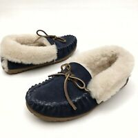 @@ LL Bean Wicked Good Leather Shearling Moccasin Slippers Womens Size 6 M Blue
