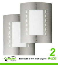 2 x 316 Stainless Steel Bunker Wall Lights Rectangular Diffused Outdoor Exterior