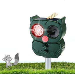 NEW! Solar Ultrasonic PIR Sensor Pest Repeller Scarer Deterrent Animal Bird Cat