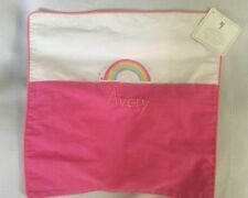 "Pottery Barn Kids Canvas Rainbow Appliqué Pink Pillow Sham 16 X 16 ""Avery"" NWT"