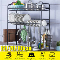 Dish Rack 2-Tier Stainless Steel Kitchen Dry Shelf Cutlery Holder Over Sink Rack
