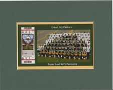GREEN BAY PACKERS  MATTED SINGLE PIC SHOWING SUPER BOWL 45 GAME TICKET& TEAM