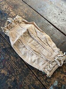 vintage womens lace up Girdles Corset Pink Embroidered Antique Floral