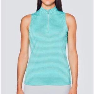 PGA tour half-zip striped women's sleeveless top - Green - Medium