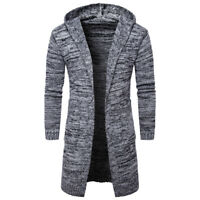 Fashion Warm Fit Slim Jacket Sweater Thick Long Men's Cardigan Hooded Knit Coat