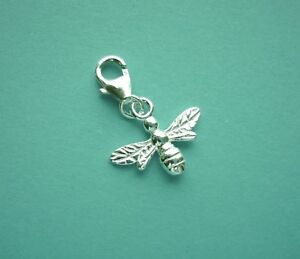 Clip On 925 Solid Sterling Silver Honey BEE Charm /TRIGGER LOBSTER CLASP