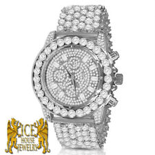 White Gold Men's Simulated Diamond Luxury Fully Ice Out 6 Row Custom Band Watch