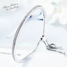 Cubic Zirconia Chain Lab-Created/Cultured Sterling Silver Fashion Bracelets