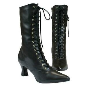 New Ladies Victorian Boot Black Faux Leather With Worldwide Expedited Shipping