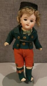 "Antique 6"" Bisque Doll Open Mouth Teeth Blue Glass Eyes Jointed Knees P 1810"