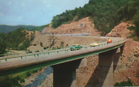 VINTAGE POSTCARD BRIDGE ALONG THE WEST VIRGINIA TURNPIKE GROUP OF CALSSIC CARS