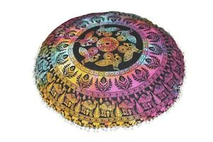 Indian Mandala Round Meditation Cushion Cover Floor Cushion Cover Pouf Cover