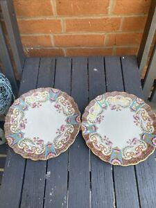 Antique Rare Aynsley Pair Of Bread/butter Plates Circa 1891