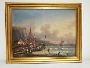 Ancien Tableau , HsT signée J. LEVY . Marine , Pêcheurs Falaises Bord de Mer