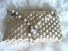 Lulu Guinness Ribbon Weave, Pearls and Charms Tote Shoulder Handbag