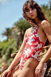 Free People Frankie's Bikinis Red Annie One-Piece One Shoulder Swimsuit Sz S NWT