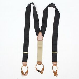 Solid Black Woven Nylon Braces Suspenders Brown Leather Made in USA