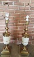 Vintage Set of Heavy Brass and Porcelian Stiffel Lamps Pair