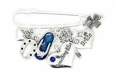 Something Blue Bride Charm Flip Flop Wedding Gift Hen Party Bouquet Pin Keepsake