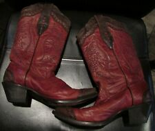 Corral Cowgirl Boots Size 6M Great Design Red Brown Lots of Stitching