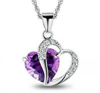 Women 925 Sterling Silver Necklace Chain Amethyst Crystal Heart Purple Pendant